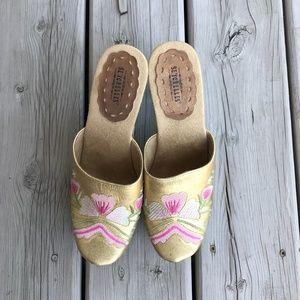 Seychelles Shoes Wood Platform Heels Embroidery
